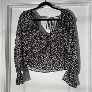 NWT Boohoo Black and Cream Spotted Ruffle Blouse